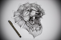 white lion (pajus79) Tags: nikon d80 black white bw light shadow shade contrast sketch pigma micron pen draw paint paper art work pattern sign ornament drawing line graphics sakura japan micro grapgic design illustration artist fantasy lion animal angry