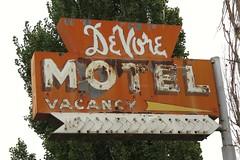 DeVore Motel Sign (Larry Myhre) Tags: devoremotel rusty weathered neon sign lind washington