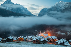 Under the Quilt of Dawn (S l a w e k) Tags: dolomites italy carnic alps mountains alpine landscape scenery autumn dawn sunrise wintry snow snowy cold frosty mountain village church belluno veneto