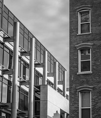 Architectural Contrast (Catskills Photography) Tags: hss blackandwhite architecture buildings urban city cityscape canons95 windows