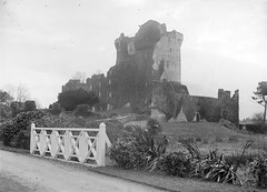 Hallowed walls and halls (National Library of Ireland on The Commons) Tags: fergusoconnor fergusoconnorcollection glassnegative nationallibraryofireland castle height bridge white ivycoveredwalls windows curtainwall towers locationidentified rosscastle killarney countykerry