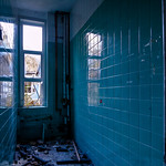 Blue tiled room at Mountain Ash Hospital