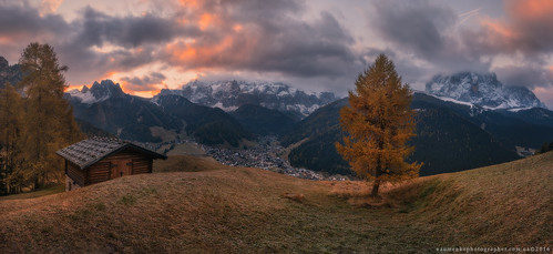 Italy. Dolomites. Morning panorama village Selva di Val Gardena