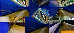 pedestrian subway (Kai-Ming :-))) Tags: kaiming kmwhk hongkong collage blue yellow red pedestrian subway shau kei wan mtr entrance hdr