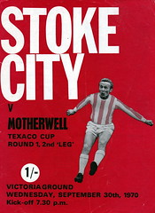 Stoke City vs Motherwell - 1970 - Cover Page (The Sky Strikers) Tags: stoke city motherwell texaco cup victoria ground official programme 1