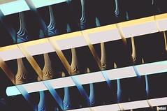 light waves (Behni88) Tags: neon lamp lampe lampa lys licht light swiatlo lumiere yellow blue blau gelb niebieski zolty jaune bleu lines line linien linia linie stripes stripe strich striche kreski kreska v haken raster
