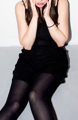 Shocking! (A><EL) Tags: red brunette legs black dress girl female pantyhose stocking nylon fashion flash canon youngnuo