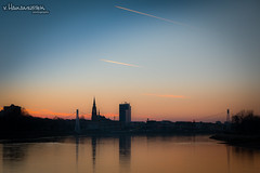Good evening, my beloved hometown <3 (v.Haramustek) Tags: osijek croatia slavonija sundown bridge river drava gold sky blue evening outdoor water reflection traces