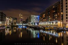 Clarence Dock, Leeds (cdhardaker) Tags: yorkshire leeds nightphotography clarencedock reflections longexposure photography lightreflection clouds sky movement