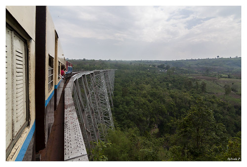 Train between Mandalay & Hsipaw, amazing view over a bridge