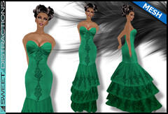 Mesh Tiered Lace Mermaid Gown in Jade (Sweet Distractions) Tags: life mesh sweet lace sl bridesmaid second gown mermaid rigged distractions
