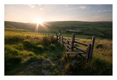 Beacon Of Light (A-D-Jones) Tags: blue sun set fence landscape wooden warm glow angle belmont side country hill wide lagoon reservoir rivington bolton stile wards horwich