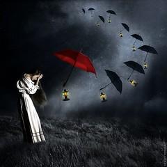 ** (~Brenda-Starr~) Tags: light woman lamp field grass female night clouds umbrella photomanipulation photoshop stars artwork glow wind cloudy digitalart surreal montage lantern melancholy conceptual allrightsreserved brendastarr brendaclarke august2013