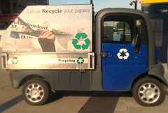 (London Permaculture) Tags: london electric paper newspaper vehicle van recycling canarywharf