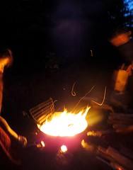 Fire (Ever~*) Tags: family camping light camp canada forest canon dark outdoors fire darkness smoke campfire flame banff sparks firewood