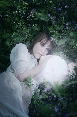 Fae Light (artos_thebear) Tags: flowers blue woman green girl field nikon glow purple teal magic meadow orb story fairy sphere ethereal mysterious resting reclining shining tale faerie fae laying artis
