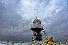 Lighthouse (Roger steb) Tags: ocean sunset sea sky cloud lighthouse nature water norway clouds nikon scenery peaceful hdr rogaland pir bracketing karmy aparture d5200