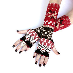 Red christmas Arm Warmers , fingerless gloves , mittens , cuffs , hand warmers, Snowflakes, holliday gift (anuchka2010) Tags: snowflakes gloves accessories cuffs armwarmers handwarmers christmasgift blackgloves fingerlessgloves wintergloves armsleeves
