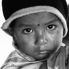 Tears (Dick Verton ( more than 14.000.000 visitors )) Tags: travel nepal portrait blackandwhite bw face asia tears child dickverton tharuvillage