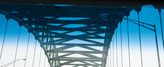 Bridge (alankin) Tags: blue triangles newjersey bridges lookingup inpassing ontheroad fromthecar inmotion windshieldfilter i276 niknala nikond300 nikkorafzoom1755mmf28g 11jul2009 newjerseyturnpikeextension 1100015au