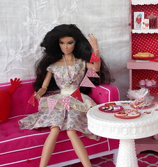 Untangling the pendant banner... (JunqueChicDoll) Tags: fashion miniature day barbie valentines fr royalty diorama playscale