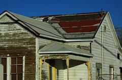 Corner Porch (lefeber) Tags: california wood windows house architecture rural morninglight ruins shadows desert angles roadtrip valley porch worn peelingpaint ruraldecay owensvalley