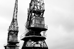 Cockpit (garrettc) Tags: urban bw history museum docks bristol town quay cranes canonef28mmf28 mshed