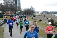 First Half Feb 16 2014 085907 (gherringer) Tags: canada vancouver race outdoors athletics downtown bc exercise britishcolumbia competition running seawall runners englishbay stanleypark colourful westend fit active bibs 211km 131mi vanfirsthalf 2014firsthalfhalfmarathon