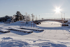 "The love island (""krleksn"") during the real winter of 12/13, Saltsjbaden, Stockholm archipelago (Maria_Globetrotter) Tags: bridge winter sun snow cold love ice island star pier vinter bro sn saltsjbaden img3602 krleksn"