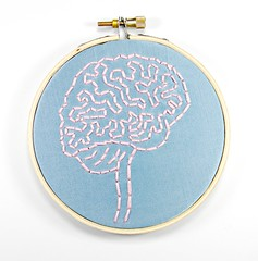 Brain Anatomy Hoop Art. Hand Embroidered Wall Decor (Hey Paul Studios) Tags: psychiatry creativity embroidery zombie brain health mindfulness alzheimers mental socialwork positivethinking hoopart medicalart