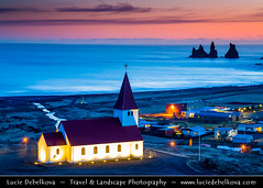 Iceland - Vk  Mrdal & Church at Sunset ( Lucie Debelkova / www.luciedebelkova.com) Tags: world ocean trip travel sunset vacation holiday tourism beautiful wonderful island iceland nice fantastic perfect europe tour place dusk awesome country sightseeing visit location tourist best atlantic journey stunning destination sight traveling polar lovely visiting exploration shores incredible region touring breathtaking sland icelandic northatlanticocean luciedebelkova wwwluciedebelkovacom luciedebelkovaphotography nordiceuropean