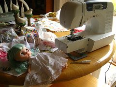 IMG_8609...Broken sewing machine and only half done with my fun project.