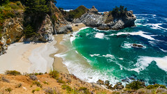 McWay Falls - Julia Pfeiffer Burns State Park in Big Sur (California) (cglphoto) Tags: ocean california park trip sea cliff 3 seascape mountains west fall nature water cali fog canon landscape photography one 1 coast landscapes is big flora highway rocks waves julia state pacific mark iii tide foggy scenic parks roadtrip falls cliffs hwy foliage pch burns coastal poi 5d sur polarizer overlook f4 circular pfeiffer bower lim hwy1 cpl turnout 24105 mkiii mk3 polariser ca1 mcway f4l cgl overlooks 24105mm tidefall chhorn tidefalls chhorno