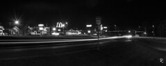 298/366 - The Intersection of the Great River Road and Fast Food (sdgiere) Tags: ushwy52 dubuque iowa panorama blackandwhite afterdark longexposure