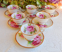 Royal Albert Porcelain Demitasse Cups & Saucers ~ American Beauty ~ Roses Gold (Donna's Collectables) Tags: royal albert porcelain demitasse cups saucers ~ american beauty roses gold