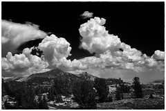 Big clouds over the Sierra crest (speedcenter2001) Tags: highsierra sierranevada sierra california mountains wilderness anseladamswilderness backpacking hiking nature backcountry silverefexpro2 sep2 monochrome blackandwhite nikonseriese75150mmf35