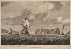 A View of the Pierced Island (Perc, Quebec, 1758?) (Toronto Public Library Special Collections) Tags: quebec perce sevenyearswar sirherveysmythe thirdbaronet francisswane gulfofstlawrence illustration water ships clouds island