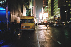 Cinestill 800T Yashica T4 (Lee Whitehead 1987) Tags: cinestill 800t yashica t4 night photography dark street usa america city contrast colour tones film 35mm neon lights new york travel lee whitehead