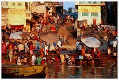 """Morning Bath"" - Varanasi, India (TravelsWithDan) Tags: ganges river varanasi india sacred bathing people earlymorninglight"