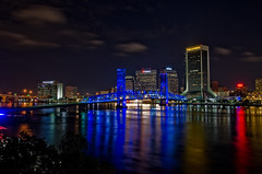 Jacksonville from the Southbank (adcristal) Tags: jacksonville florida fl southbank night riverwalk river walk st johns stjohnsriver main street bridge mainstreetbridge john t alsop johntalsopbridge johnalsop junior jr johntalsopjrbridge steel vertical lift nikond7000 tamron1750mmf28 everbank suntrust wellsfargo jaguars