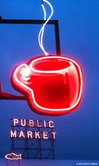 Neon coffee sign near Pike Place Market [1463] (Chris S. Collison) Tags: neon seattle seattlesbestcoffee neoncoffeesign pikeplacemarket publicmarketsign postalley pikestreet snow cityfishmarket cityfishmarketsign sign signs