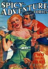 Spicy-Adventure Stories, January 1938 (Tom Simpson) Tags: spicyadventurestories pinup woman boobs sexy girl vintage art pulp pulpart 1938 1930s bondage rope bound bdsm tied shibari
