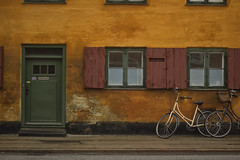 And It Was All Yellow (D.I. Hammonds) Tags: yellow orange earthy colour color wall street walls streets urban built building home house green door white bike bicycle copenhagen denmark capital city nik photoshop edit editing edited