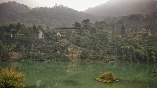 Glass lake in the Buddha mountain.