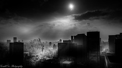 Sunrise at Osaka (Gerald Ow) Tags: black white sony a7r2 a7rii fe 2470mm f28 gm hotel granvia osaka japan bw sunrise clouds ngc geraldow ilce7rm2 skyline city