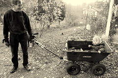 getting firewood with Pop (judecat (back with the pride)) Tags: love gardencart family granddaughter husband larry pop chloe