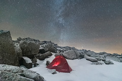 'Glyderau Wildcamp' (Kristofer Williams) Tags: night sky stars tent camp wildcamp snow ice cold wales glyderau glyderfach summit outdoor hiking hillwalking astro astrophotography nightscape boulders rocks snowdonia