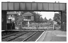 Attenborough Crossing (david.hayes77) Tags: ng9 midlandmainline mml attenborough nottinghamshire 1976 mono bw blackandwhite levelcrossing signal box attenboroughcrossingshuntingframe ilford fp4 acutol tsbg