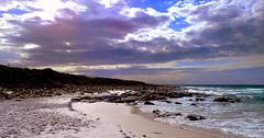 MOODY MORNING CLOUDS (Lani Elliott) Tags: beach ocean sea water surf cloud clouds sky skies moody mauve sand rocks scenictasmania friendlybeaches