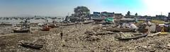 Mumbai, where the slum reaches the sea, opposite the Gaye of India. 2016. (Richard Murrin Art) Tags: mumbai bombay slum beach rubbish